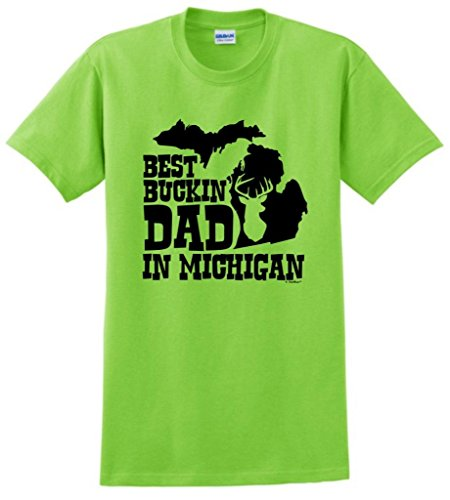 Best Buckin' Dad In Michigan, State Pride T-Shirt Large Lime