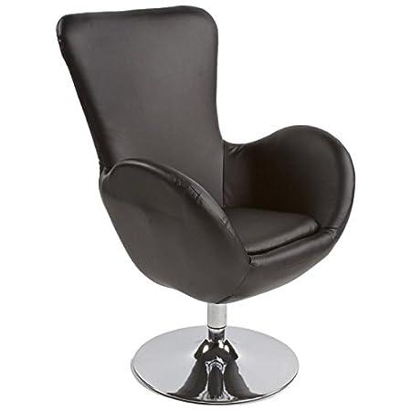 Fauteuil design et contemporain JAMES en simili cuir et métal chromé (noir)