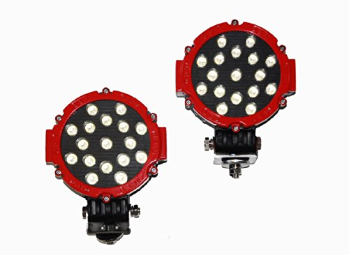 """2X Red 51W Round Led Light 7"""" Spot Work Off Road Fog Driving Roof Bar Bumper 4X4"""