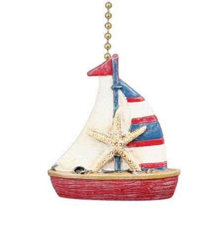 Nautical Coastal Sailboat Ceiling Fan Pull (Fan Pulls Decorative Nautical compare prices)