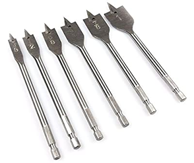 "Power Tools NEW 6pc Quick Change Boring Drill Bit Set Spade Paddle Flat Wood Working 3/8""-1"""