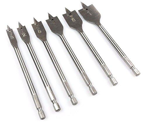 Power Tools NEW 6pc Quick Change Boring Drill Bit Set Spade Paddle Flat Wood Working 3/8