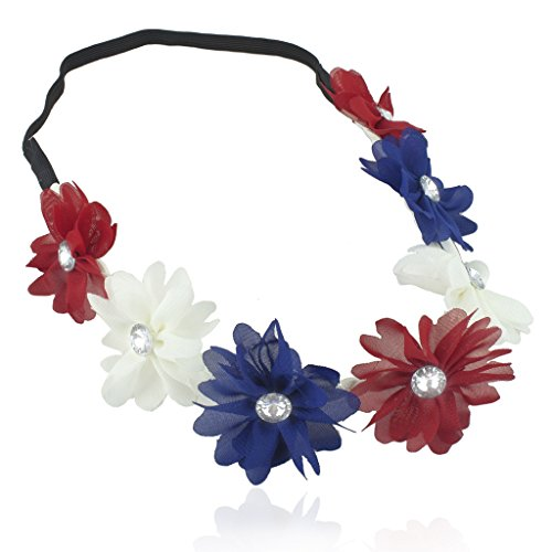 Lux Accessories Red White Blue American Flag 4th Of July Independence Floral Flower Crown Stretch Headband