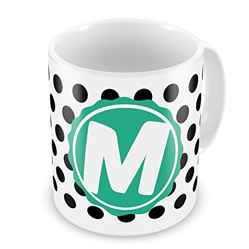 Coffee Mug Monogram M Black White Polka Dots - Neonblond