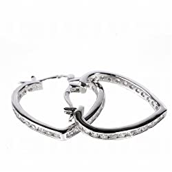 Heart-Shaped Hoop Earrings with Clear CZ, 3 x 15 mm