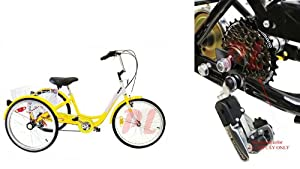 6 Speed Tricycle 24 3-Wheel Adult Bicycle Bike w  Basket SHIMANO-YELLOW WHITE by Generic