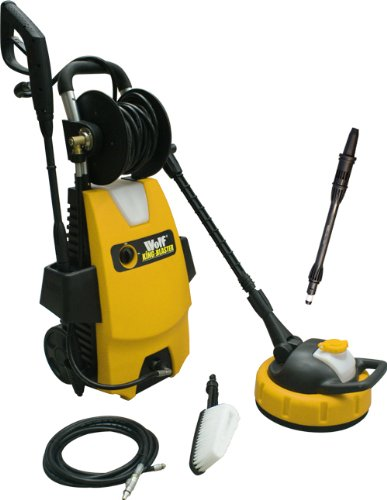 Wheel Mounted Wolf KING Blaster Power Washer - Full Kit Includes: Patio Cleaner, Car Brush, Turbo Lance and Drain Cleaner COMPLETE KIT FOR EVERY HOUSEHOLD
