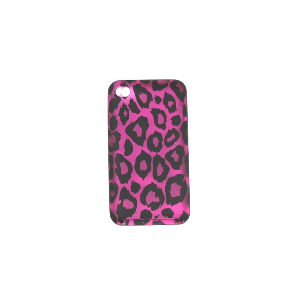 Purple with Black Leopard Spots Soft Silicone Skin Gel Cover Case for Apple Ipod Touch 4 4th Gen Generation 8GB / 32GB / 64GB