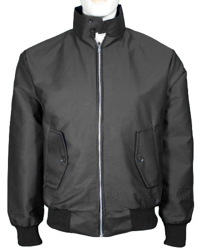 Mens retro Smart Classic Harrington Jacket Zip Up Fastening (Large, Black)