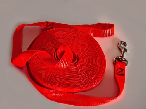 The Best Long Dog Leash for Training and Play - 50 Feet Long, 1 Inch Nylon, Visible, Durable, Strong, and Made in the USA