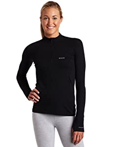 Columbia Women's Baselayer Long Sleeve 1/2 Zip, Black, Small