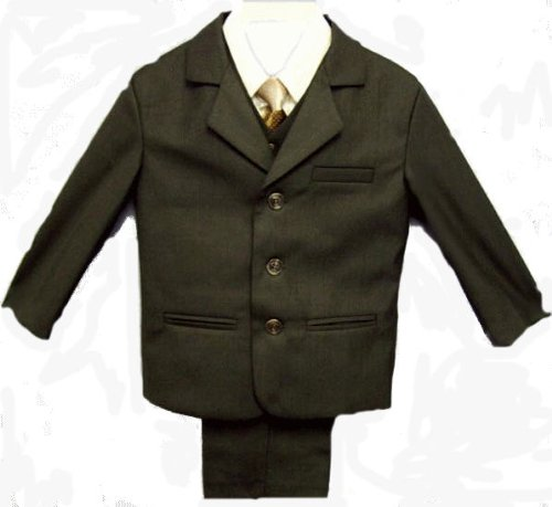 Boys Brown Dress Suit, Compete Outfit with Pants, Jacket, Vest, Shirt, and Tie