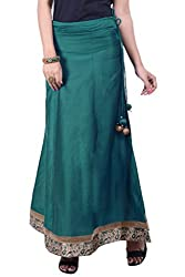Rene Women's Sea Green Cotton Silk Solid Flared Fit Long Skirt