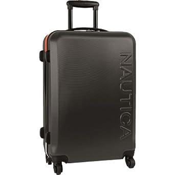 Nautica Luggage Ahoy 25 Inch Hardside Spinner, Grey/Orange, One Size