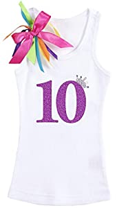 Bubblegum Divas Big Girls' 10th Birthday Rhinestone Crown Heart White Tank Top Shirt 9-10