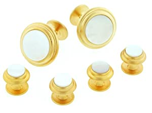 JJ Weston elegant brushed finish gold plated and mother of pearl formal set. Made in the USA