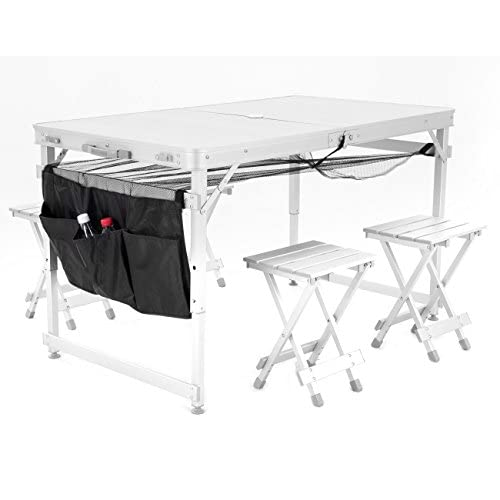 KLB Sport Aluminum Portable Folding Picnic Table w/ 4 Seats & Storage Net (silver)