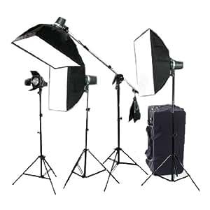 CowboyStudio Photo Studio 640 Watt Four Monolight Strobe Flash Boom Lighting Kit - 4 Studio Flash/Strobe, 2 Softboxes, 4 Light Stands, 1 Boom Arm, 1 Barndoor