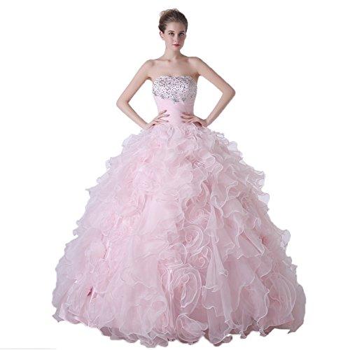 Engerla-Mujer-Sin-Tirantes-Rhinestone-Cruz-plisado-capas-organza-quinceaera-Mujer-color-rosa-tamao-42