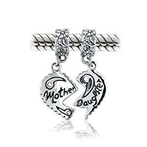 Mothers Day Gifts Bling Jewelry Mother Daughter Heart Dangle Bead Pandora Chamilia Troll Biagi Charms Compatible