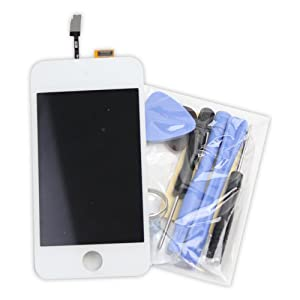 OEM White Ipod Touch 4th Lcd Display Screen + Touch Glass Screen Digitizer Assembly + White Home Button with White Plastic Round Holder + Tool