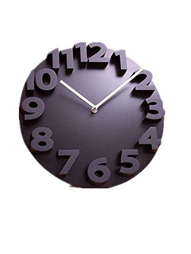 【TPGROWIN】時計 壁掛け ウォール えんけい クロック アナログ 表示 連続秒針 音しない 静かな 3D 立体 アート 飛び出す 文字 (, ブラック)