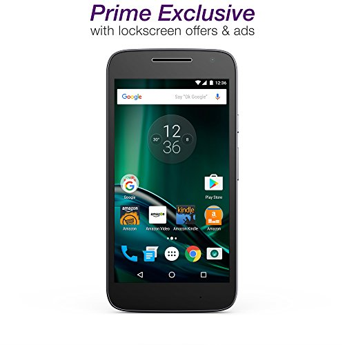 Moto G Play 4th gen - Black - 16 GB - Unlocked - Prime Exclusive - with Lockscreen Offers Ads