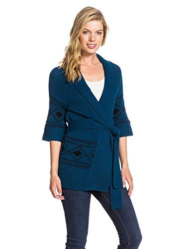 Roxy Juniors Coast Road Wide Collar Open Cardigan Sweater, Ocean, X-Small