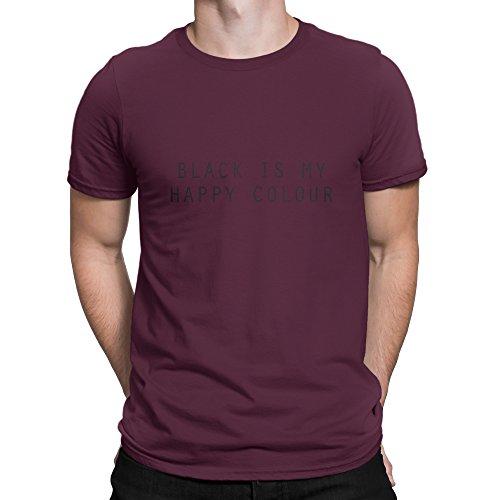 Happy Nero is my Colour-Tee-Maglietta in cotone da uomo, Small, Medium, Large, colore: bianco, Nero, Rosso, Verde, Blu, Grigio, IZZAstudio Borgogna X-Large