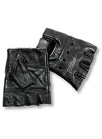 Interstate Leather Men's Basic Fingerless Gloves (Black, Large)