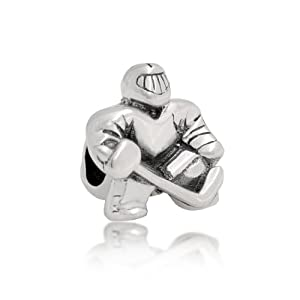 Bling Jewelry 925 Silver Ice Hockey Player Goalie Bead Sports Charm Fits Pandora
