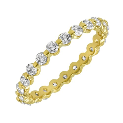 14k Yellow Gold Shared-Prong Diamond Eternity Band (1 cttw, H-I Color, SI2 Clarity), Size 5