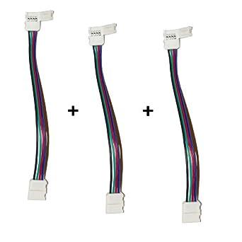 3er set 4 pol verbinder mit klippbefestigung schnellverbinder f r rgb led streifen stripes. Black Bedroom Furniture Sets. Home Design Ideas