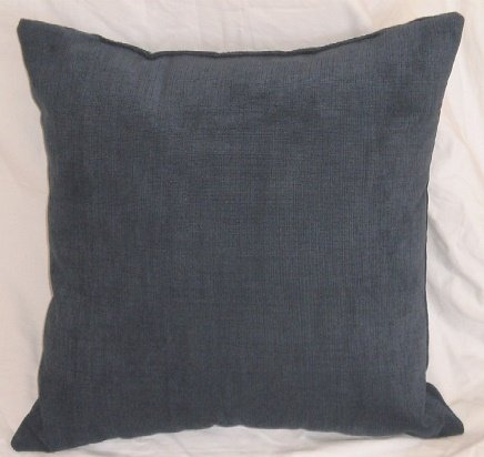 "Crinkle Weave Chenille Denim Blue, 16""X16"" Decorative Throw Pillow; Fully Assembled And Stuffed In The U.S.A front-1037493"