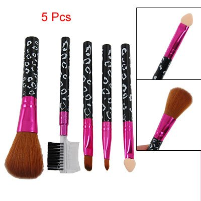 5 Pcs Black Leopard Print Handle Eye Face Care Brush Cosmetic Tool