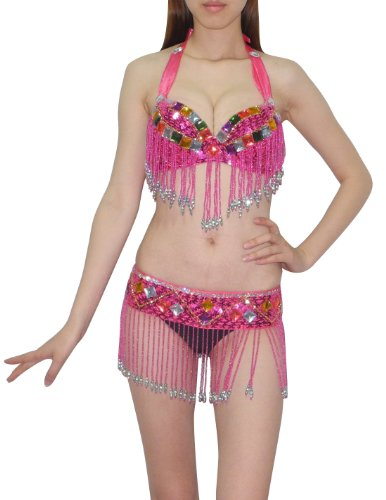 2 PCS SET: Womens Belly Dance Colorful Stones & Sequins Top & Belt Set