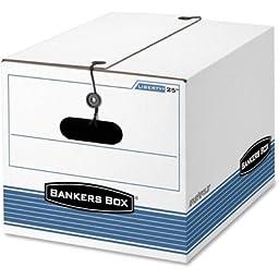 Bankers Box Storage Box, Legal/Letter, Tie Closure, White/Blue, 4/Carton