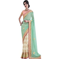Embroidered PartyWear Designer Shaded Green White Color Lehenga Saree Designed by vasu saree