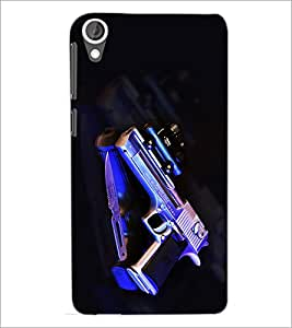 PrintDhaba Gun D-2033 Back Case Cover for HTC DESIRE 820 (Multi-Coloured)