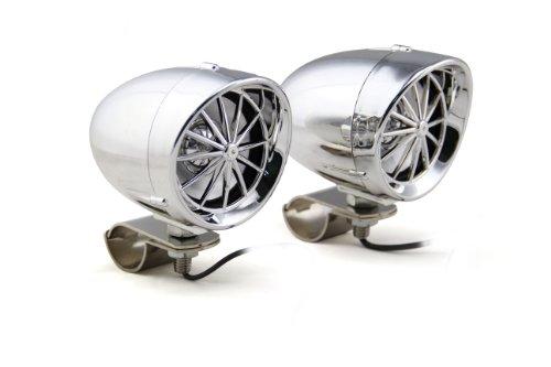 Shark Shkspkharleyampbt Bluetooth 100 Watt Speakers W/ Built In Amp Waterproof Marine W/ P Clamps For Motorcycle, Atv, Snowmobile Chrome Chrome