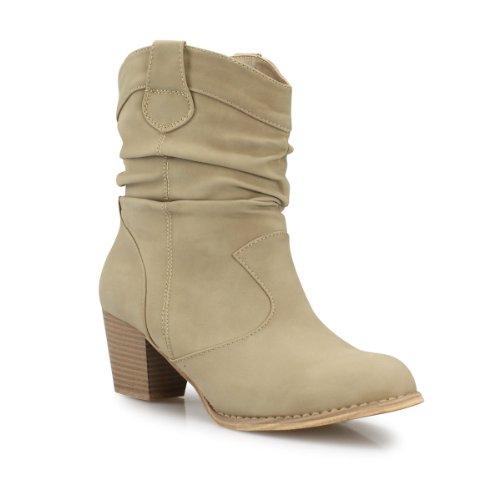 Damen Stiefeletten mit Blockabsatz Raffungen Boots Damenstiefel beige camel khaki schwarz weiß khaki 36