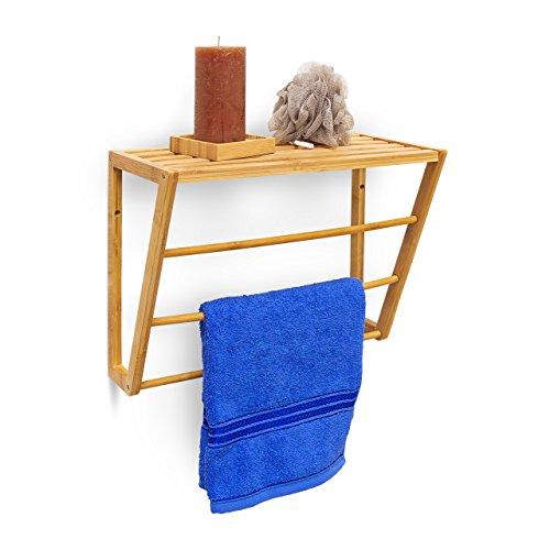 Relaxdays porte serviettes mural fixer en bambou - Etagere porte serviette salle de bain ...