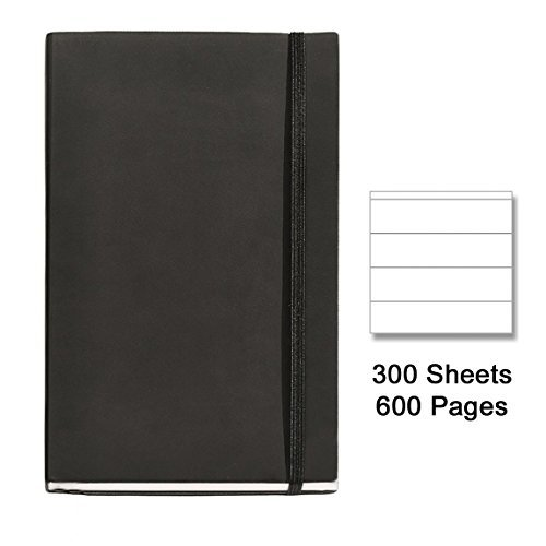 basicos-mr-10404-flexible-skin-notebook-4th-300-sheets-horizontal-with-rubber-black