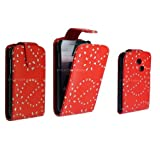FOR SAMSUNG CHAT S3350 S3353 STYLISH RED DIAMOND BLING LEATHER FLIP CASE COVER POUCH