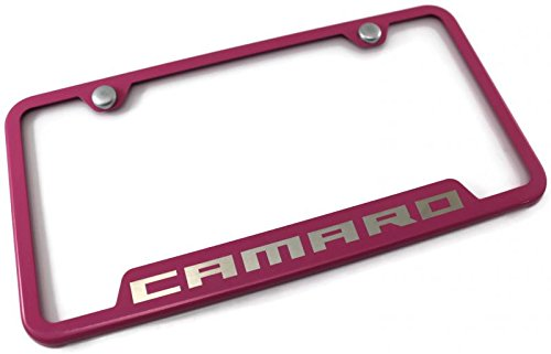 Chevrolet Chevy Camaro License Plate Frame Laser Etched Stainless Steel 4 Notch Pink Powder Coat