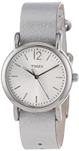 Timex Women's T2P3449J Weekender Metallic Silver Slip-Thru Leather Strap Watch