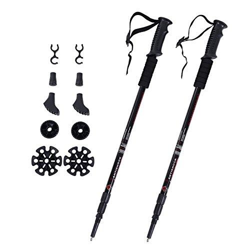 Songmics 2 x Anti-Shock Alluminio Bastoncini Trekking Telescopici Bastoni Nordic Walking In Lunghezza: 65-135 cm SAS61H