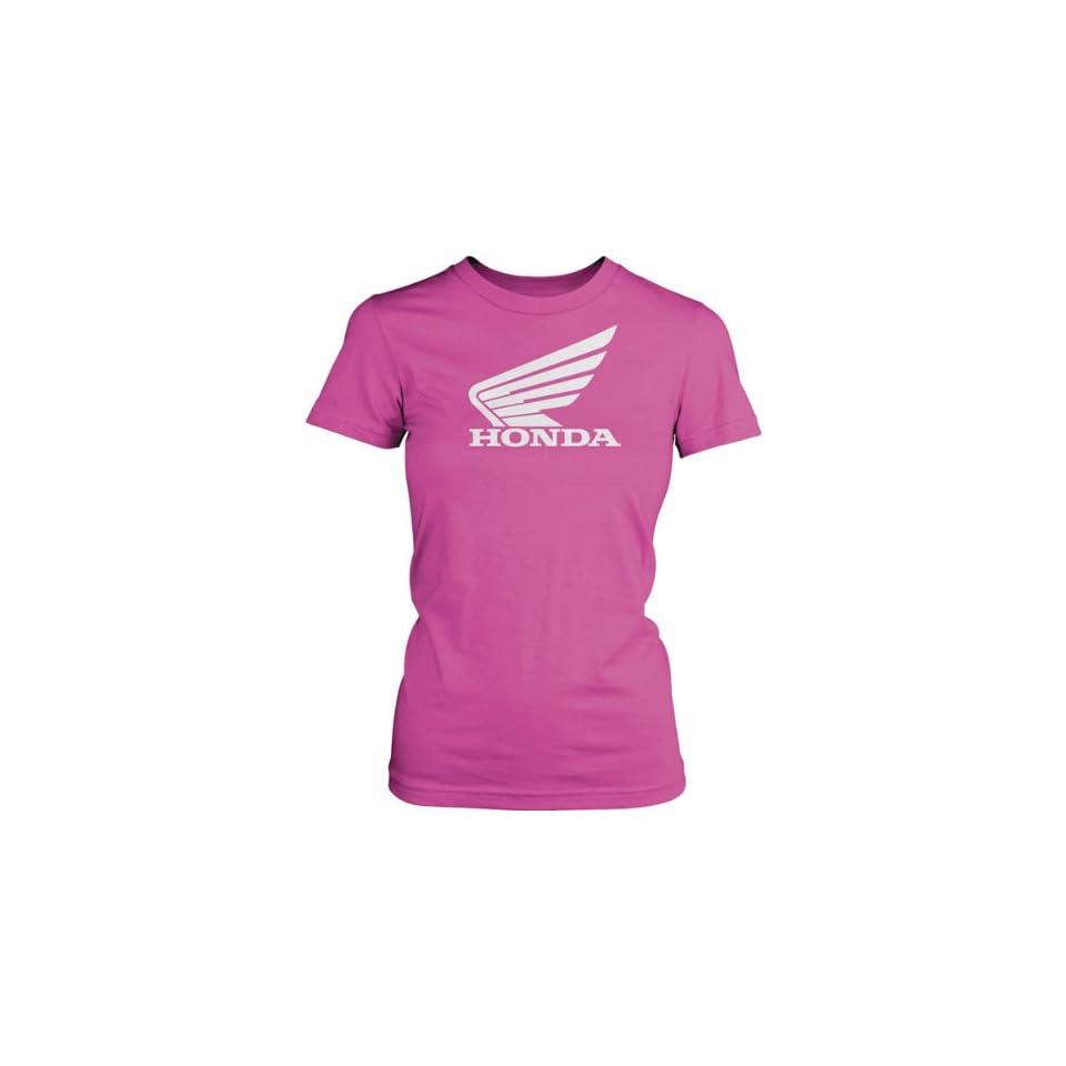 Honda Big Wing Womens Short Sleeve Fashion Shirt   Pink