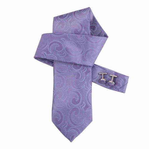 Purple Mens Fashion Tie Medium Purple Paisley Woven Microfiber Tie Cufflinks Gift Box Tie Set Dan Smith Relax Tie Set DAB1030