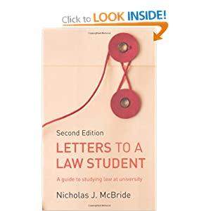 Image: Cover of Letters to a Law Student: A Guide to Studying Law at University